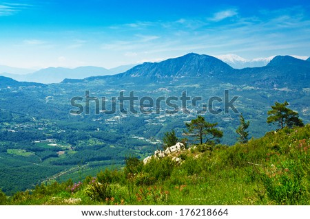 Mountain turkish summer landscape with rocks  and green hills - stock photo