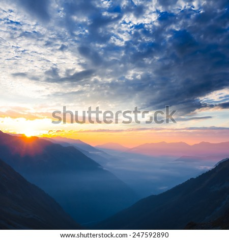 mountain valley at the early morning - stock photo