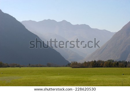 Mountain Valley in Bovec, Slovenia - stock photo