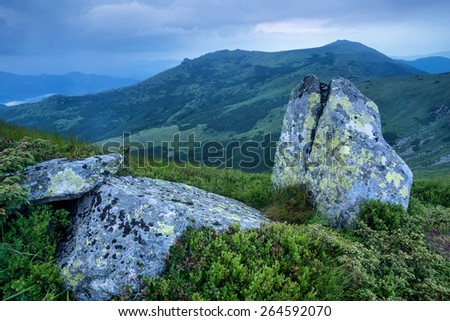 Mountain valley in mist. Natural landscape - stock photo