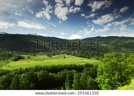 Mountain valley in swiss - stock photo