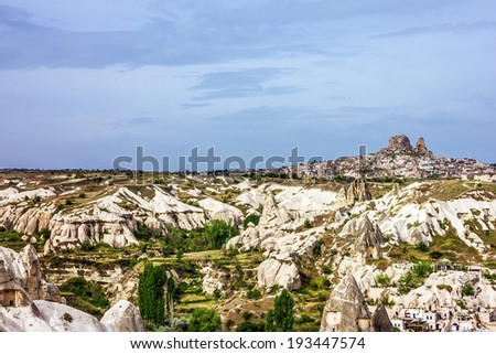 Mountain valley landscape in Goreme, Cappadocia, Turkey - stock photo