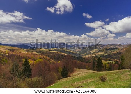 Mountain valley with clouds in Carpathians, Ukraine, instagram toning