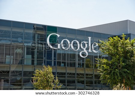 MOUNTAIN VIEW, CA - AUGUST 1, 2015: Google headquarters, also known as Googleplex, in Mountain View, California on August 1 2015 - stock photo