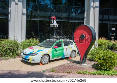 MOUNTAIN VIEW, CA - AUGUST 1, 2015: Google's Street View car on display at Google headquarters in Mountain View, California on August 1 2015