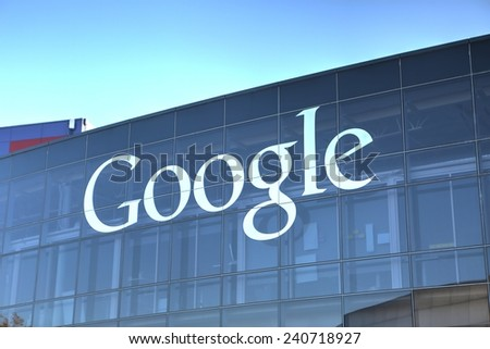 MOUNTAIN VIEW, CA/USA - December 28, 2014: Google sign on one of the Google headquarters buildings. Google is a multinational corporation specializing in Internet-related services and products.