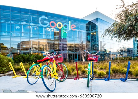 Mountain View, Ca/USA December 29, 2016: Googleplex - Google Headquarters with bikes on foreground