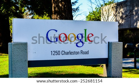 Mountain View, CA, USA - Feb. 14, 2015: Google Logo. Founded in 1998 by Larry Page and Sergey Brin, Google is a US Corporation specializing in Internet-related services and products. - stock photo