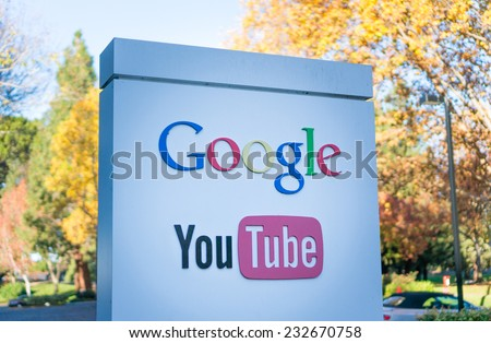 MOUNTAIN VIEW, CA/USA - NOV 22, 2014: Exterior view of Google's Youtube office. It is a multinational company specializing in Internet related services and products. - stock photo