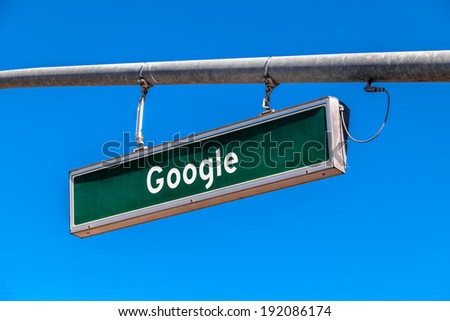 MOUNTAIN VIEW, CA/USA - October 12, 2013: Google road sign. Google is a multinational corporation specializing in Internet-related services and products.