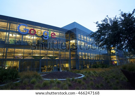 MOUNTAIN VIEW, CALIFORNIA, USA - JANUARY 8, 2016: Google is an American multinational corporation specializing in Internet-related services and products. Exterior view of Googleplex, January 8, 2016.