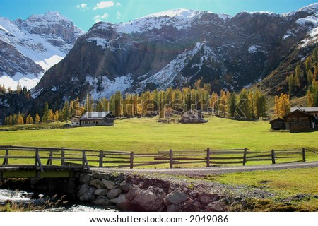 mountain view during fall - stock photo