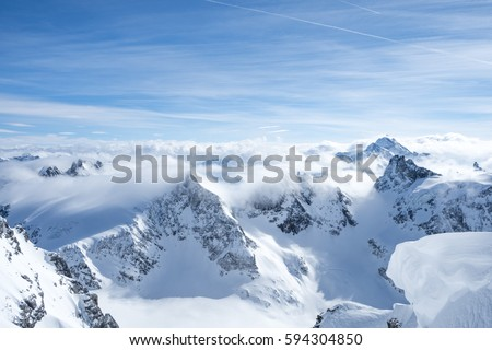 Mountain view from the international famous Cliff walk suspension bridge at the Engelberg Titlis Ski resort in switzerland.