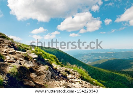 Mountain view from the top of Goverli, Carpathians - stock photo
