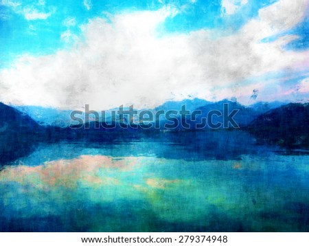 mountain view, landscape oil and watercolor painting, mixed techniques hand drawing, beautiful nature image, modern painting style, sky  clouds and mountains and water reflection impressionism - stock photo