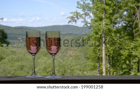 Mountain view toast - stock photo