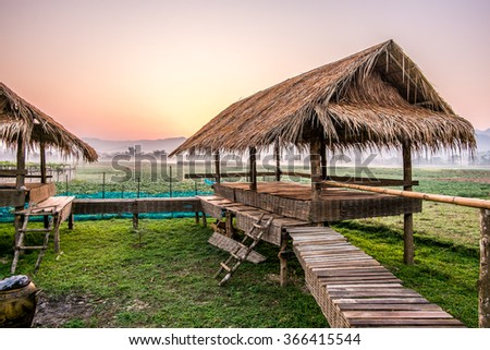 mountain views from the huts , Thai style with thatched cottage.