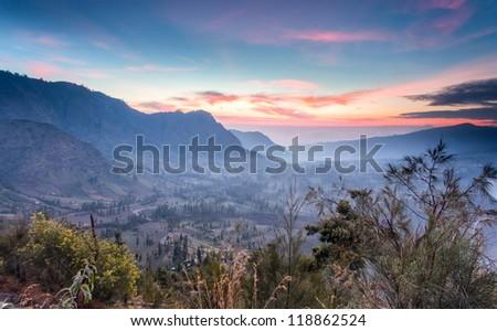 mountain village at Bromo Indonesia - stock photo