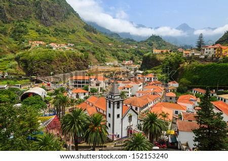 Mountain village Sao Vicente during flower festival, Madeira island, Portugal - stock photo