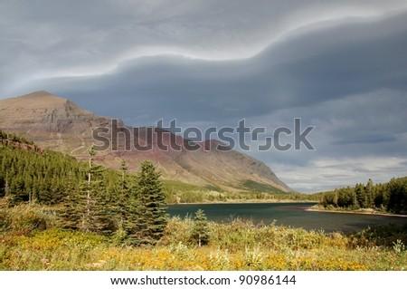 Mountain Vistas and Atmospheric Pressure Gradient, Glacier National Park - stock photo
