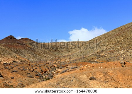 Mountain volcanic landscape,Fuerteventura,Canary Islands,Spain.