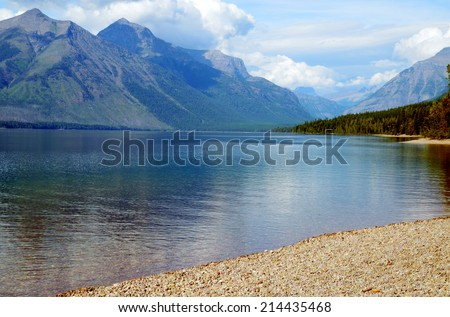 Mountain water reflections in Glacier National Park. - stock photo