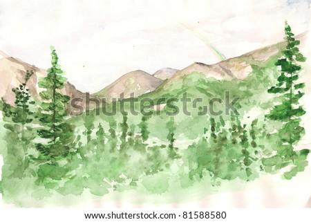 Mountain. Watercolor - stock photo