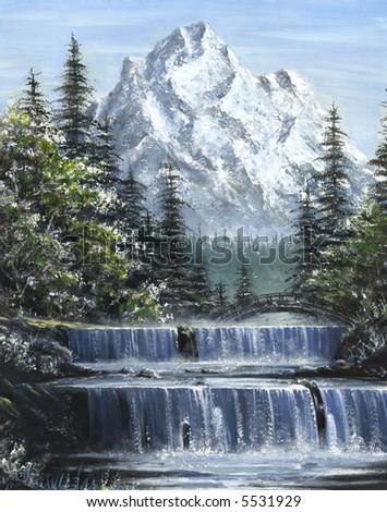 Mountain Waterfalls Painting - stock photo