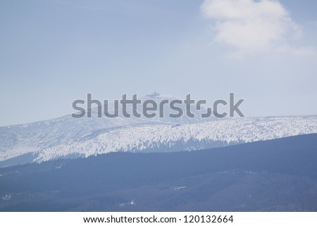 Mountain winter panorama - stock photo