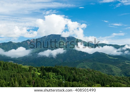 Mountain with blue sky and cloud
