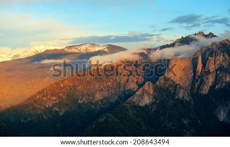 Mountain with cloud at sunset in Sequoia National Park