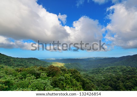 Mountain with cloud in San Juan, Puerto Rico. - stock photo