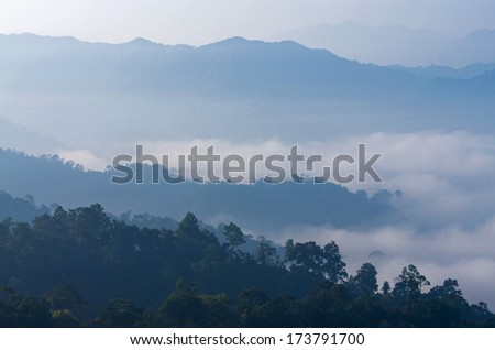mountain with fog landscape on morning at panerntung, phetchaburi, Thailand - stock photo