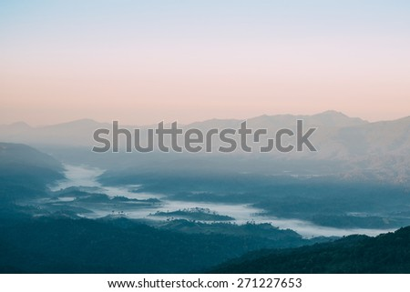 Mountain with fog view scene in the morning