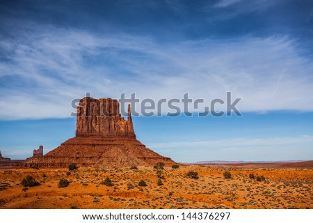 Mountain with left hand shape in Monument Valley, Arizona