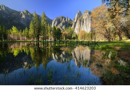 Mountain With Mirror Water in forest