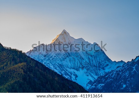Mountain with snow and pine forest in autumn, taken in the morning, Yading, Sichuan, China