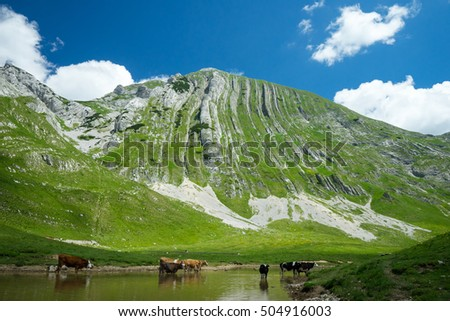 Mountain with stripes
