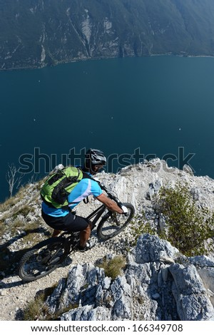 Mountainbike - above the garda lake - no way until the end - stock photo
