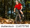 Mountainbiker in a downhill race - stock photo
