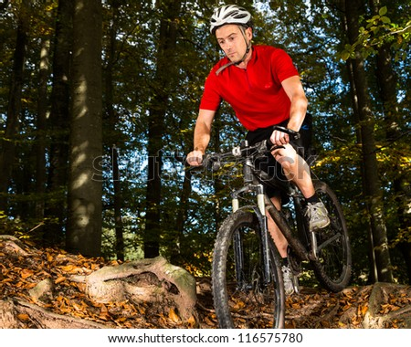 Mountainbiker in a downhill race - stock photo