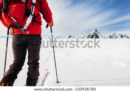 Mountaineer exploring a glacier with the skis during a high-altitude winter expedition in the european Alps. In background the Matterhorn, Zermatt, Switzerland, Europe. - stock photo
