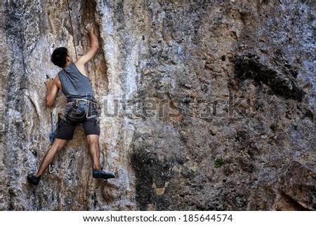 Mountaineer in railay Krabi, Thailand - stock photo