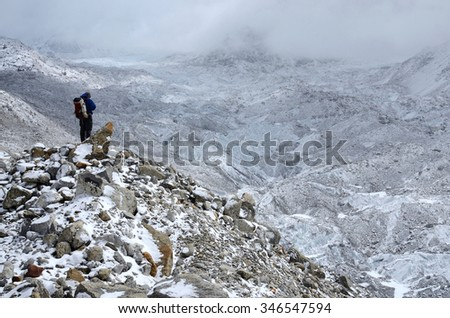 Mountaineer standing on hillside waste near Khumbu Icefall - one of the most dangerous stages of the South Col route to Everest's summit,Nepal,Asia