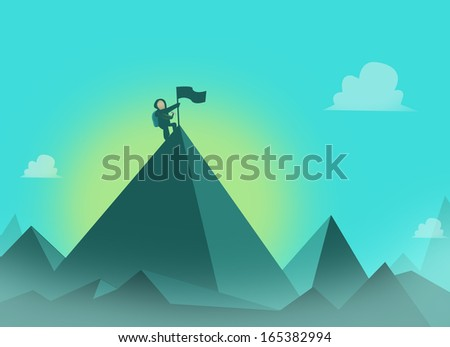 Mountaineer with flag at the summit. Mountaineering concept illustration - stock photo
