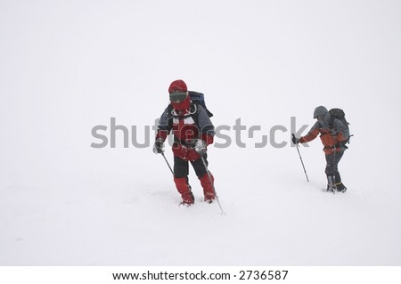 mountaineers on bad winter weather (snow grain visible)