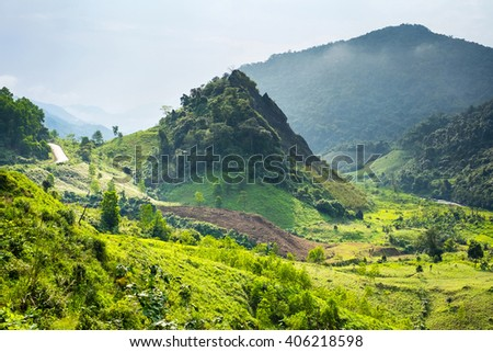 Mountainous landscape along Ho Chi Minh Highway West near Khe Sanh, Da Krong District, Quang Tri Province, Vietnam - stock photo