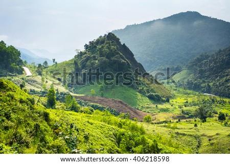 Mountainous landscape along Ho Chi Minh Highway West near Khe Sanh, Da Krong District, Quang Tri Province, Vietnam