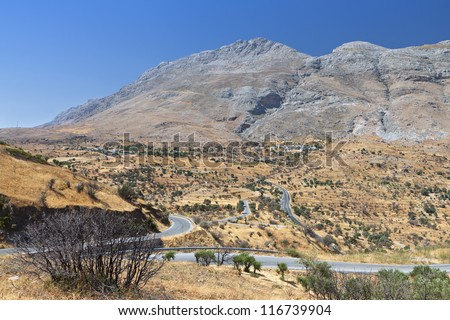 Mountainous landscape from south Crete island in Greece - stock photo