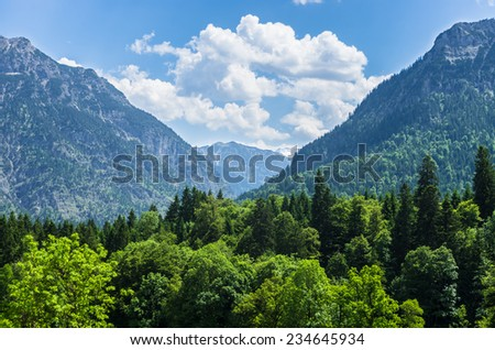 Mountainous landscape in summer in Bavaria in Germany.